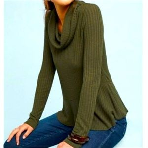Maeve by Anthropologie Olive Cowl Sweater